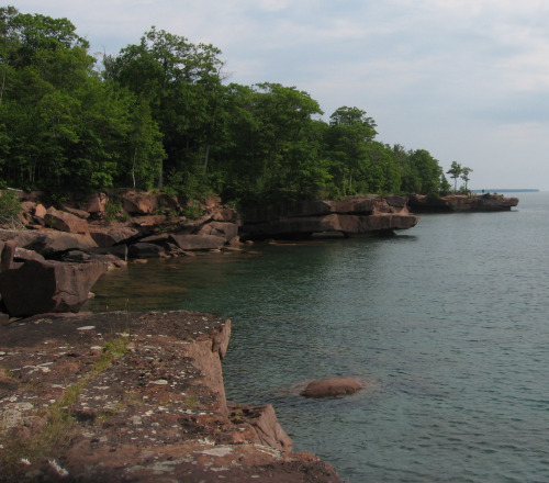 Figure 2. More shoreline made of Chequamegon Sandstone in Big Bay State Park, Madeline Island, Wisconsin. Glacial scour marks are visible on some of the rock surfaces.