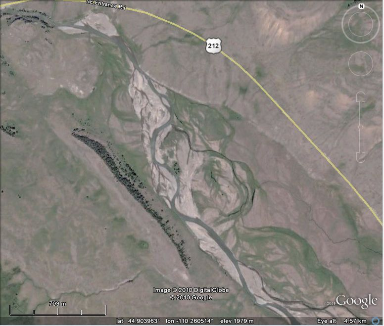 Lamar River upstream of the gorge (Google Earth image)
